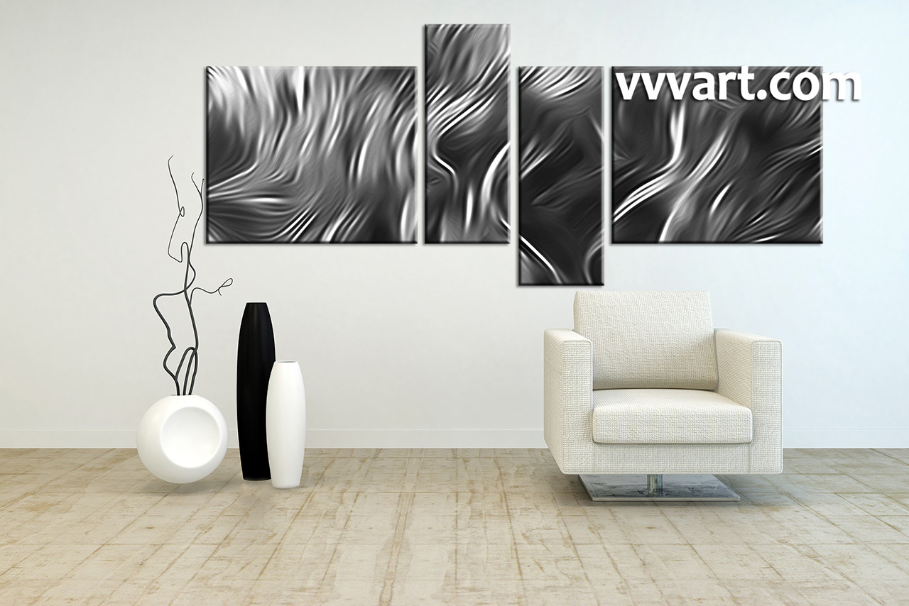 Living Room Photo Canvas, 4 Piece Canvas Wall Art, Abstract Artwork, Black  And