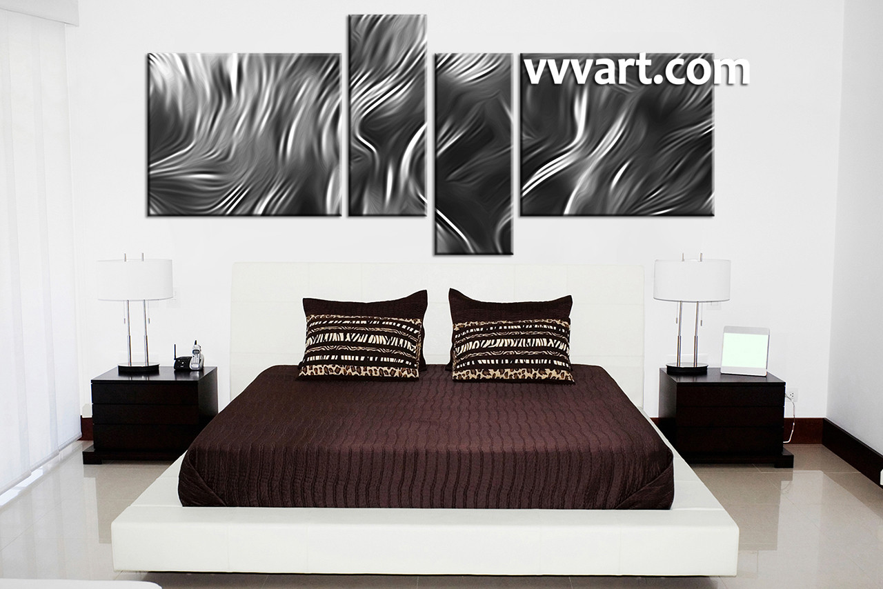 4 piece abstract grey huge canvas art for Large bedroom paintings