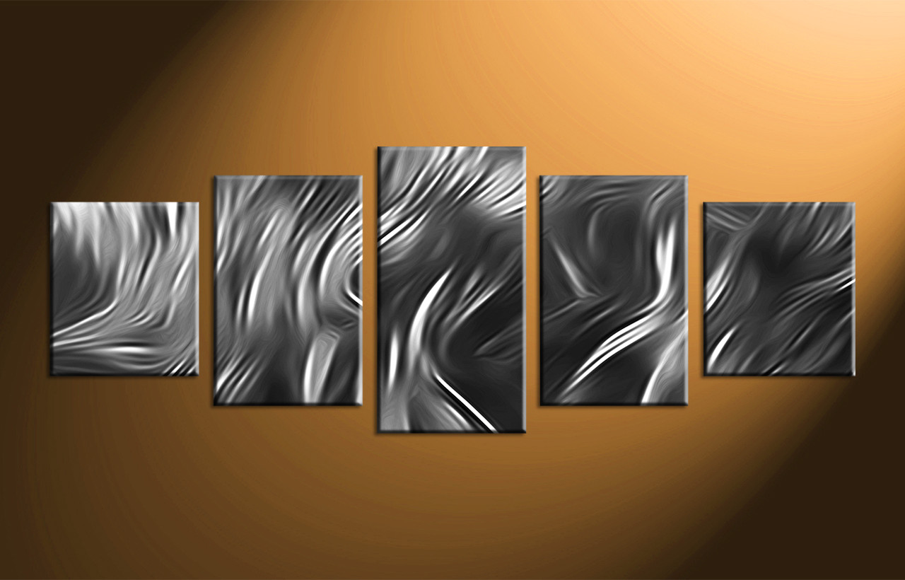 Home decor 5 piece canvas wall art black and white art abstract large