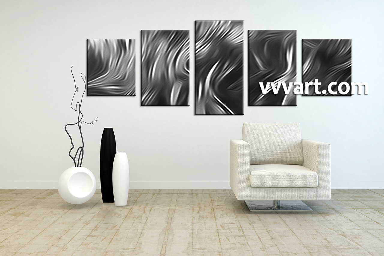 5 Piece Abstract Grey Group Canvas