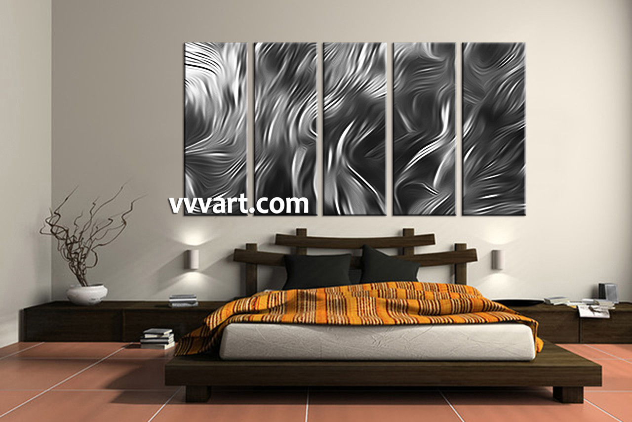 Wall Art Large 5 piece abstract grey multi panel canvas