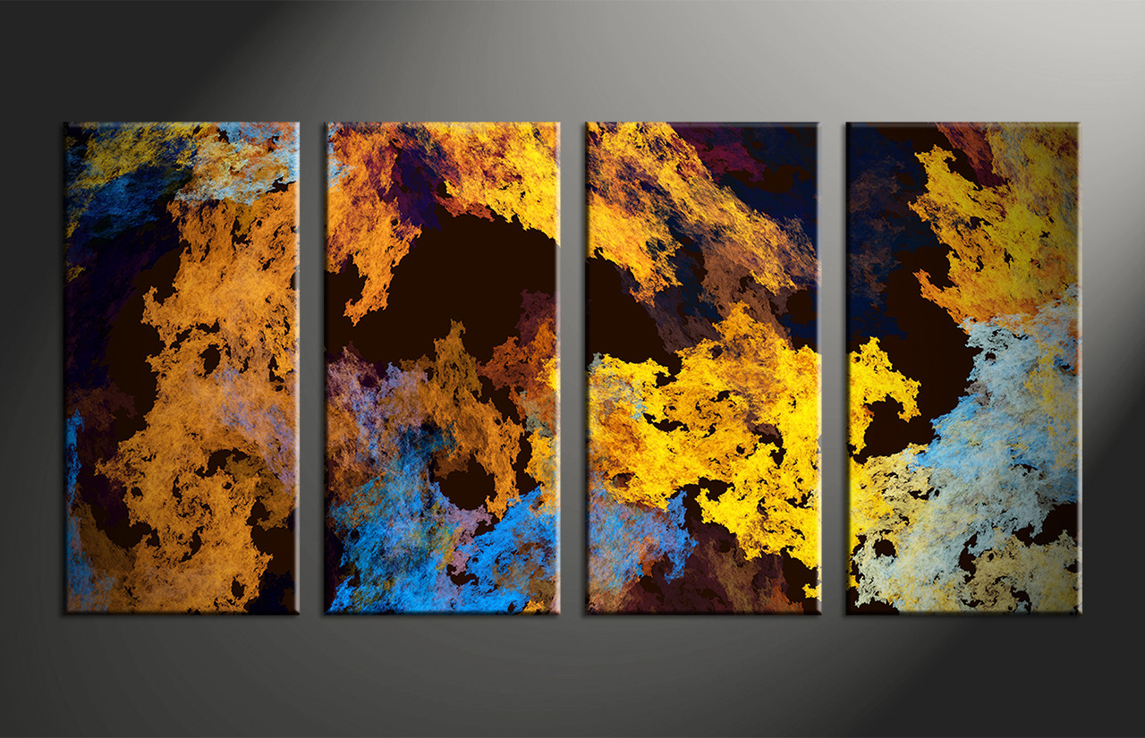 4 piece canvas yellow abstract wall art. Black Bedroom Furniture Sets. Home Design Ideas