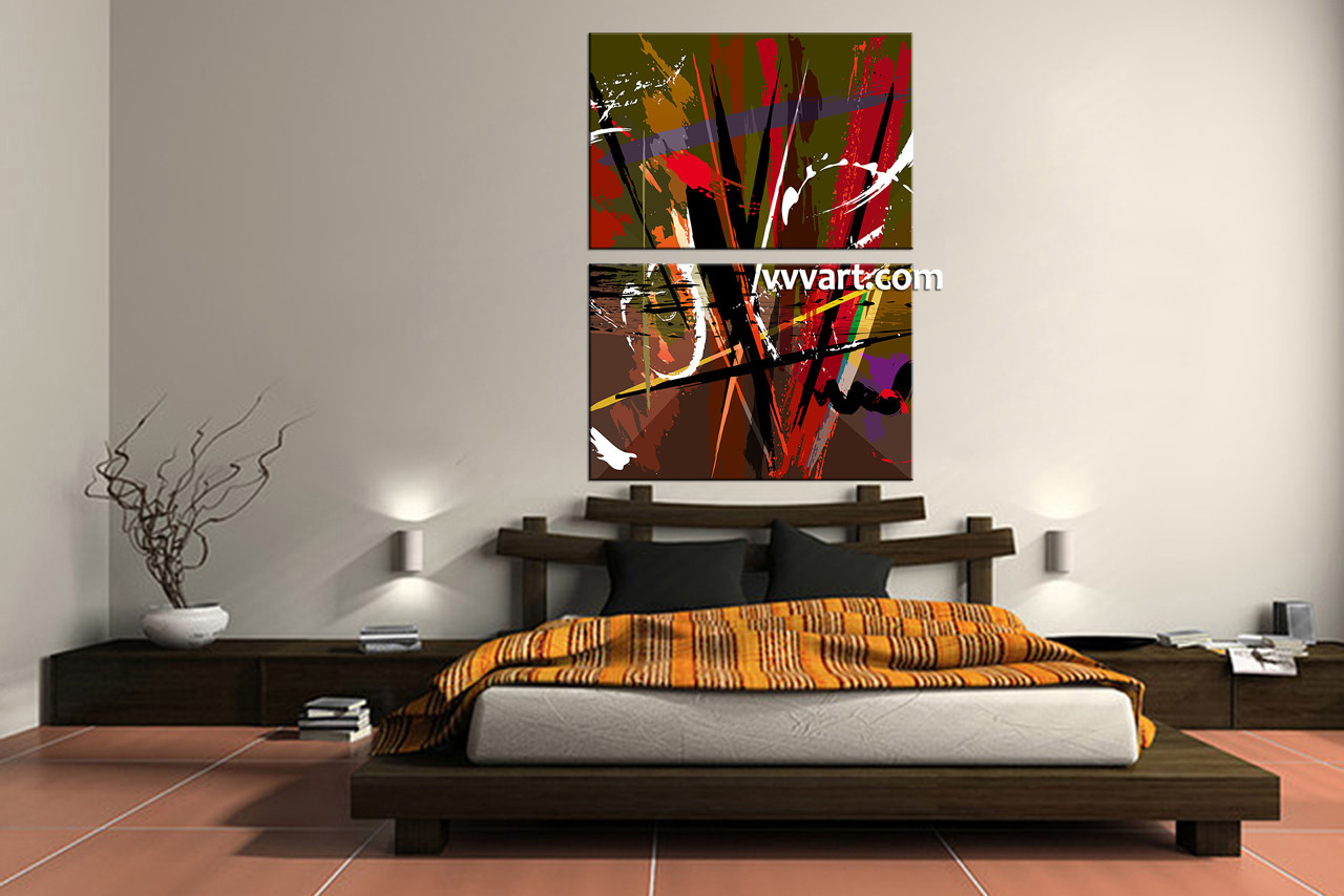 Vertical Wall Decor 2 piece colorful abstract home decor artwork
