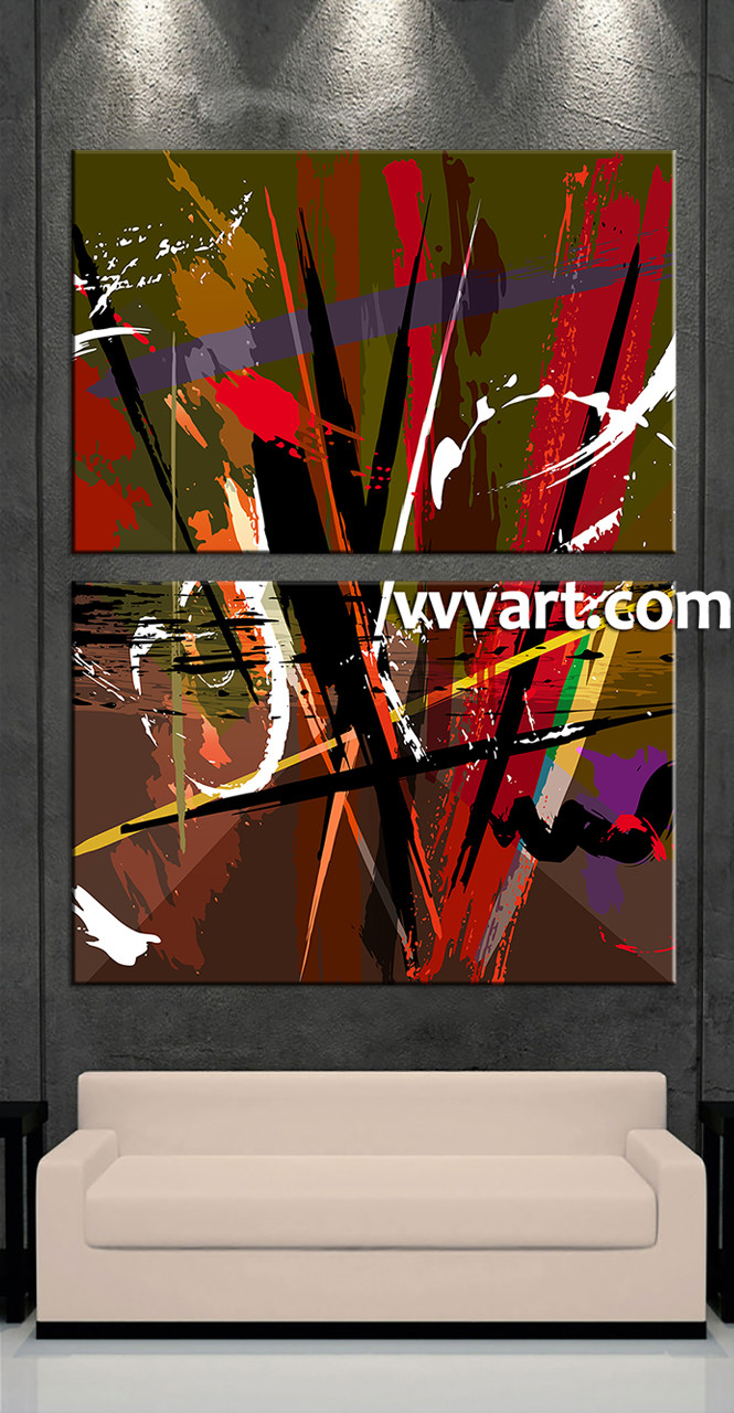 Living Room Decor 2 Piece Canvas Wall Art Oil Paintings Large Pictures Abstract