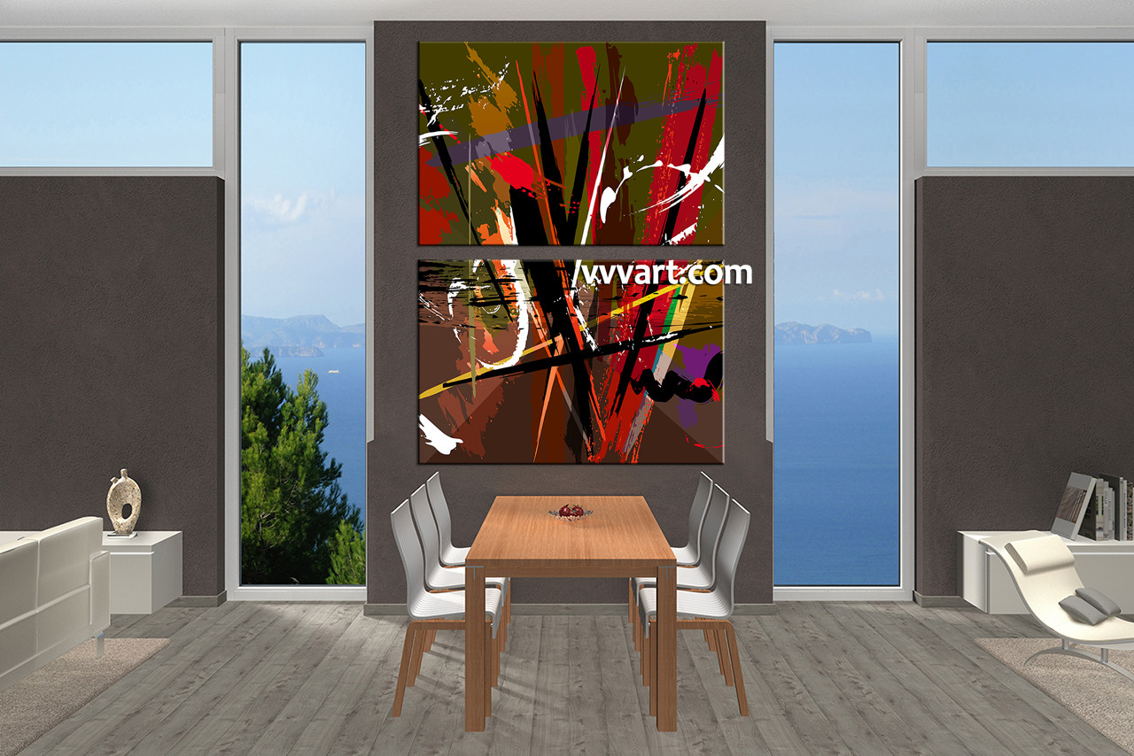 Dining Room Photo Canvas 2 Piece Canvas Wall Art Abstract Canvas Wall Art