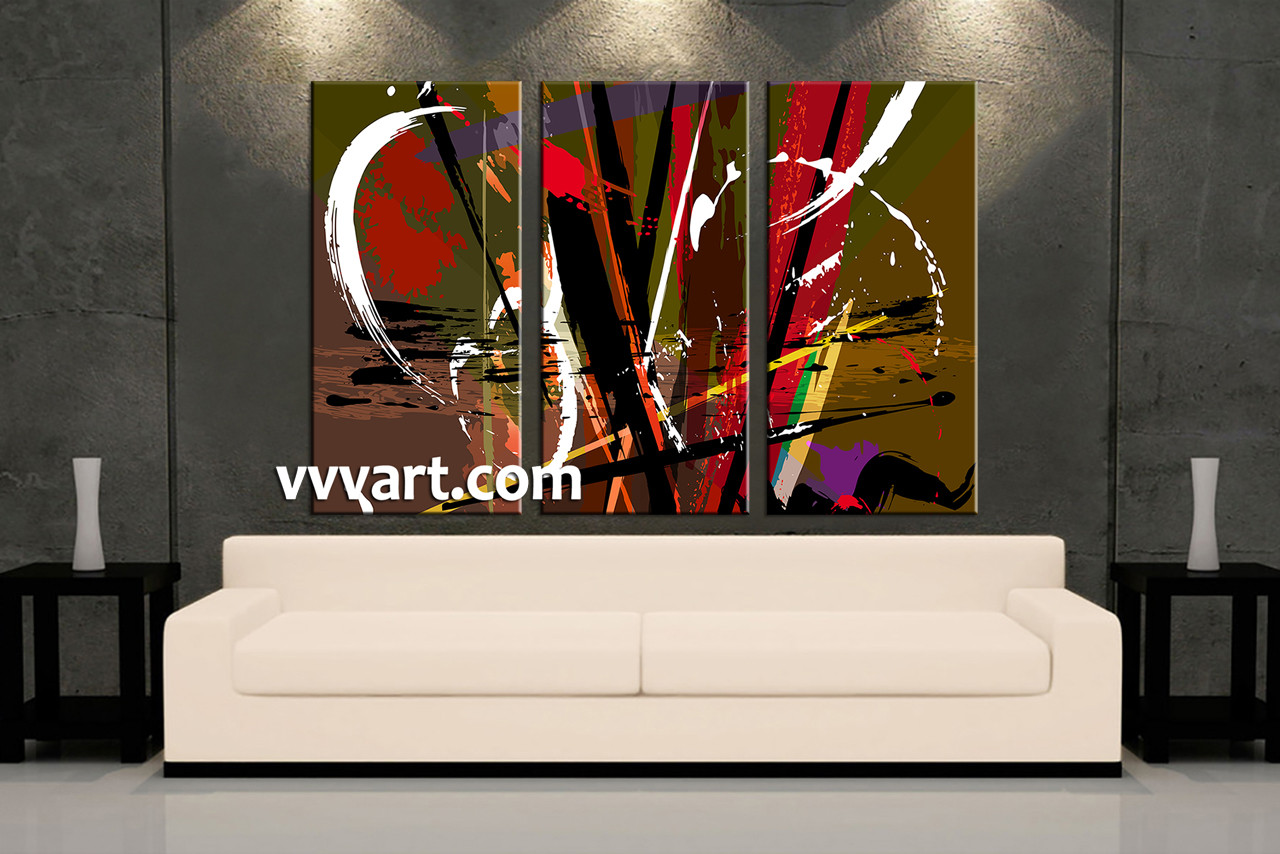 3 piece colorful home decor abstract photo canvas for Order home decor online
