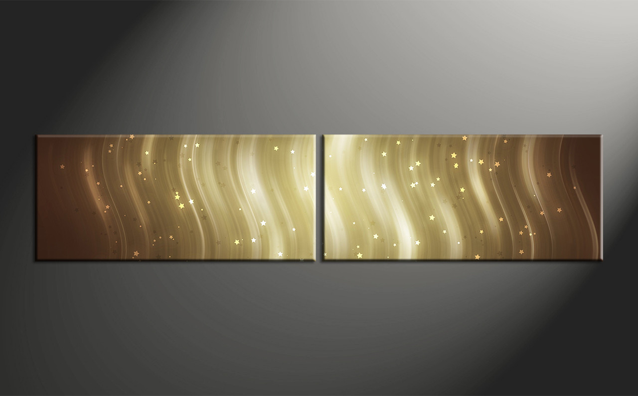 2 Piece Brown Canvas Stars Abstract Wall Decor