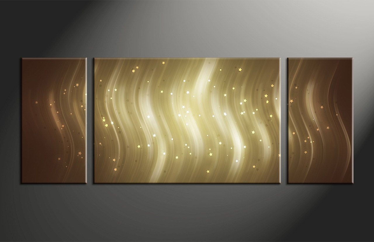 3 Piece Stars Brown Abstract Canvas Photography