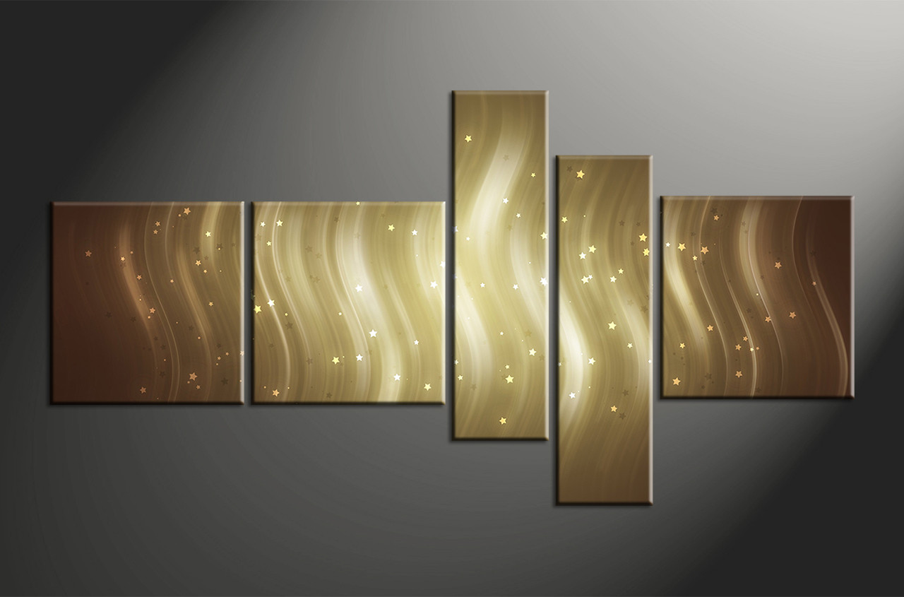 Abstract Canvas Wall Art 5 piece brown canvas stars abstract multi panel art