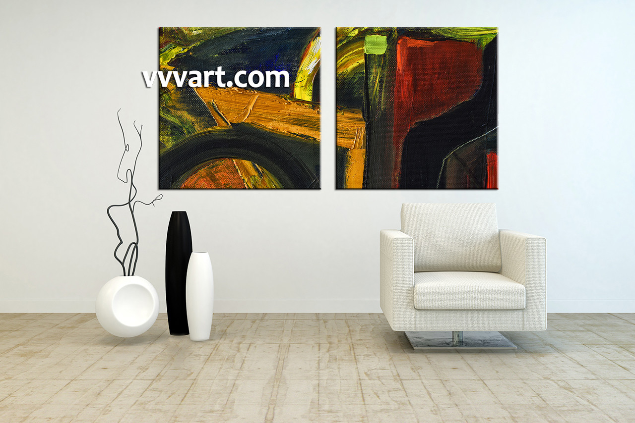 2 Piece Colorful Home Decor Abstract Artwork