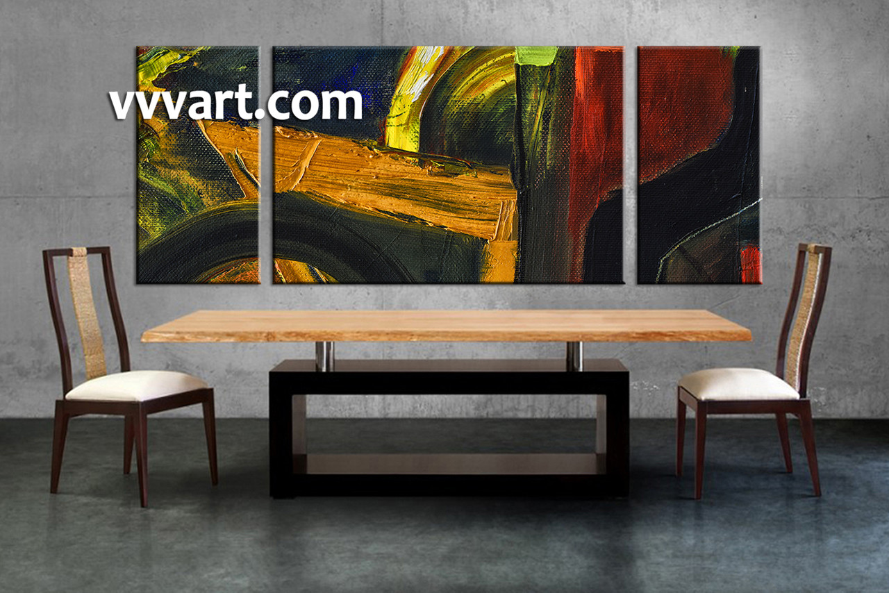 3 piece colorful wall decor abstract oil paintings artwork for Dining room wall art canvas