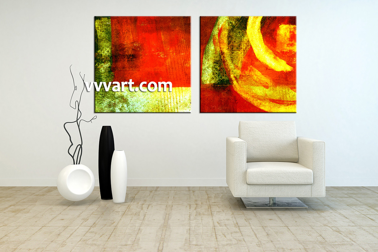 2 piece home decor colorful abstract art for Piece of living room decor