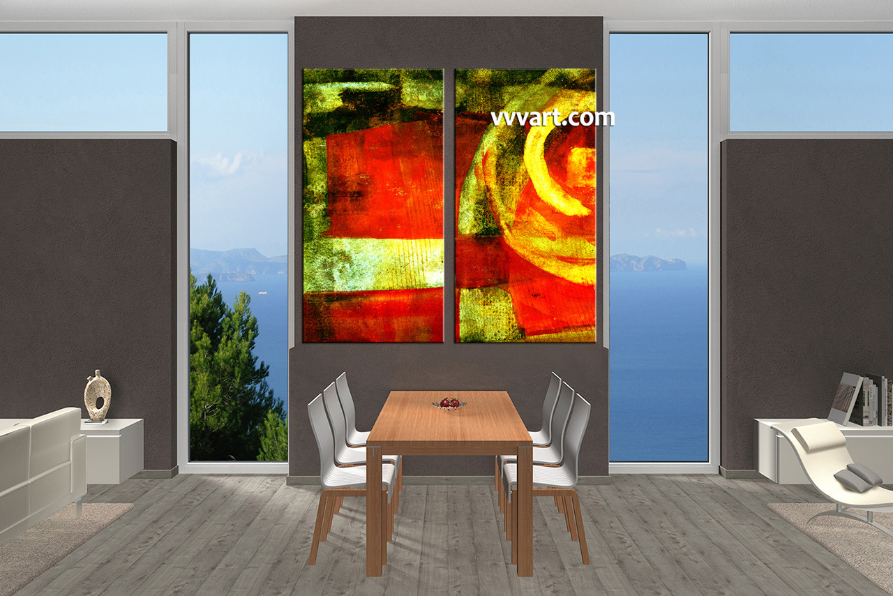 Dining Room Photo Canvas, 2 Piece Canvas Wall Art, Abstract Photo Canvas,  Abstract