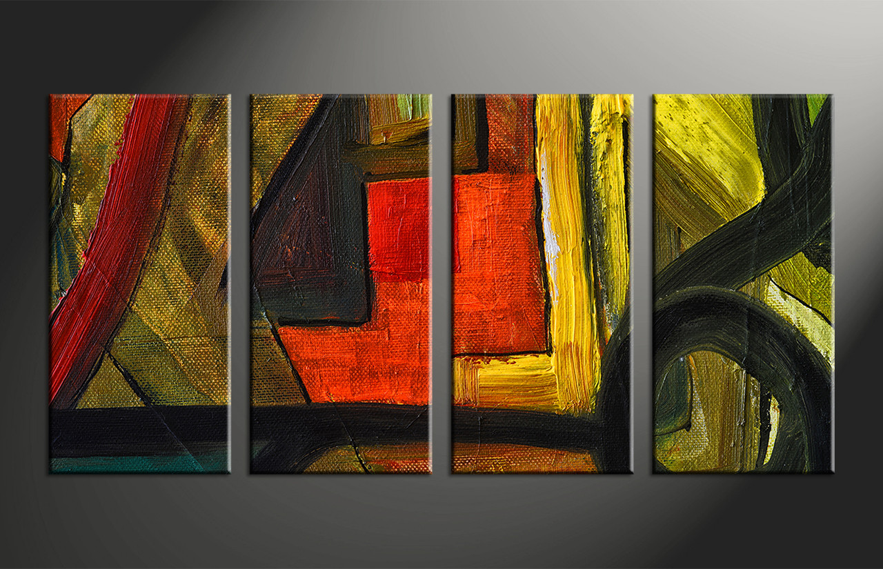 Home Decor, 4 Piece Photo Canvas, Abstract Huge Canvas Art, Oil Paintings  Photo