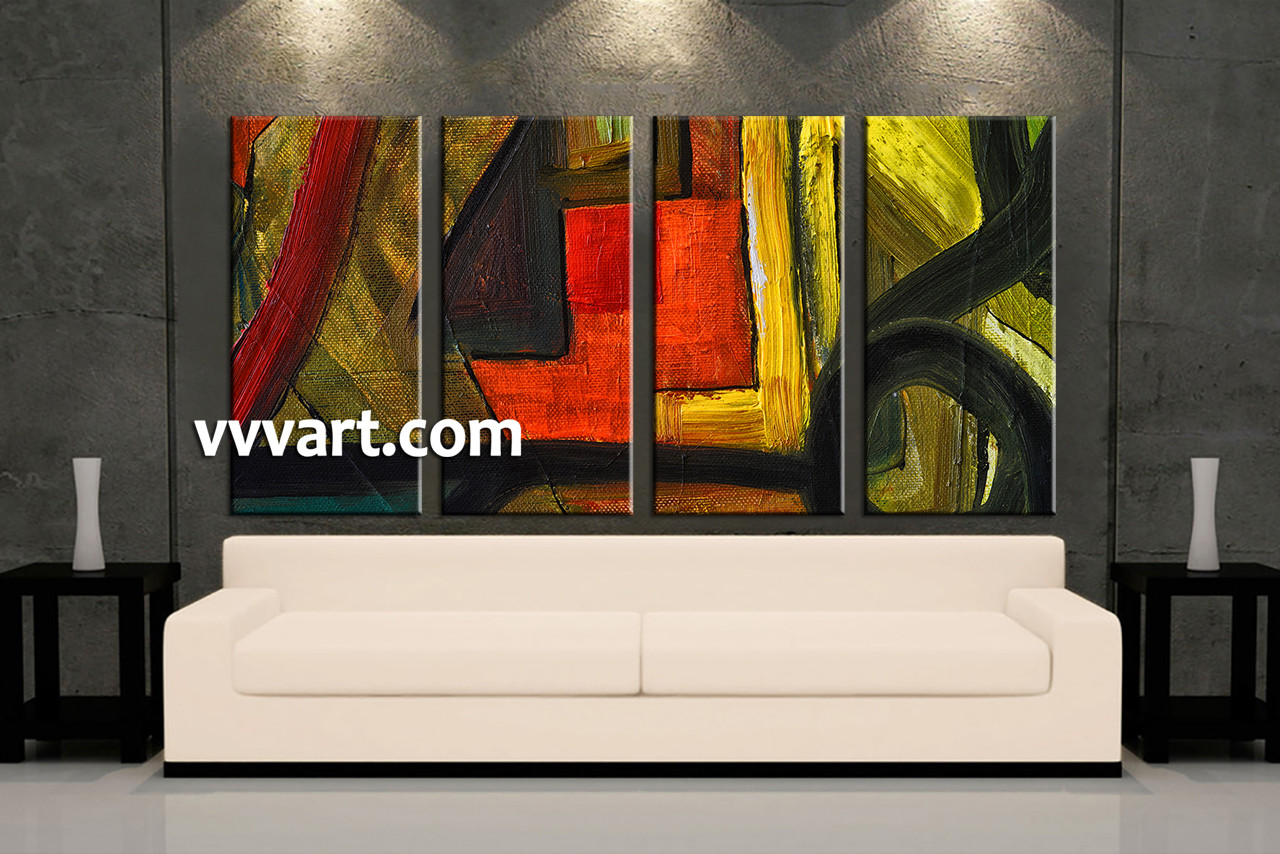 Abstract wall art painting - Living Room Wall Art 4 Piece Canvas Wall Art Abstract Pictures Oil Multi