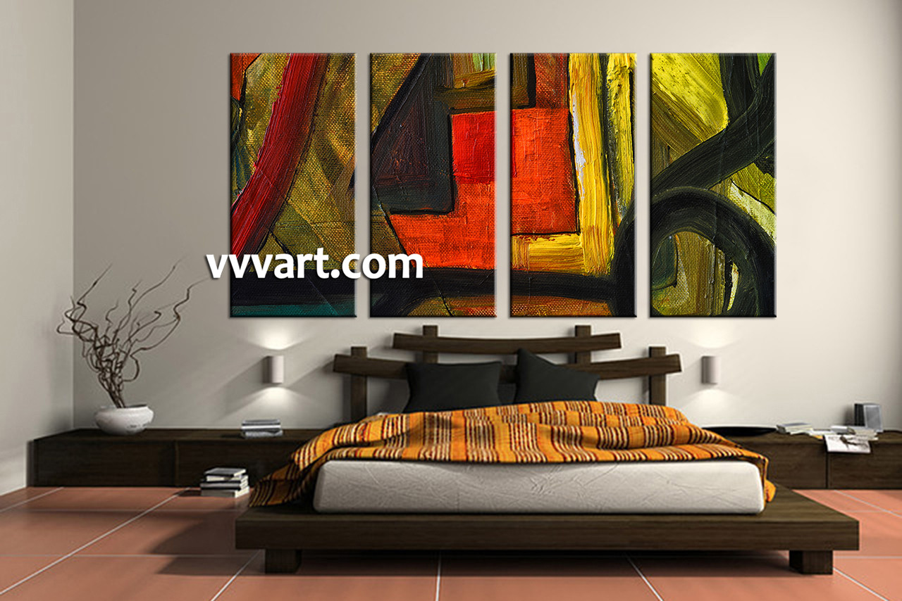 Large Paintings For Living Room 4 Piece Canvas Abstract Colorful Oil Painting Decor