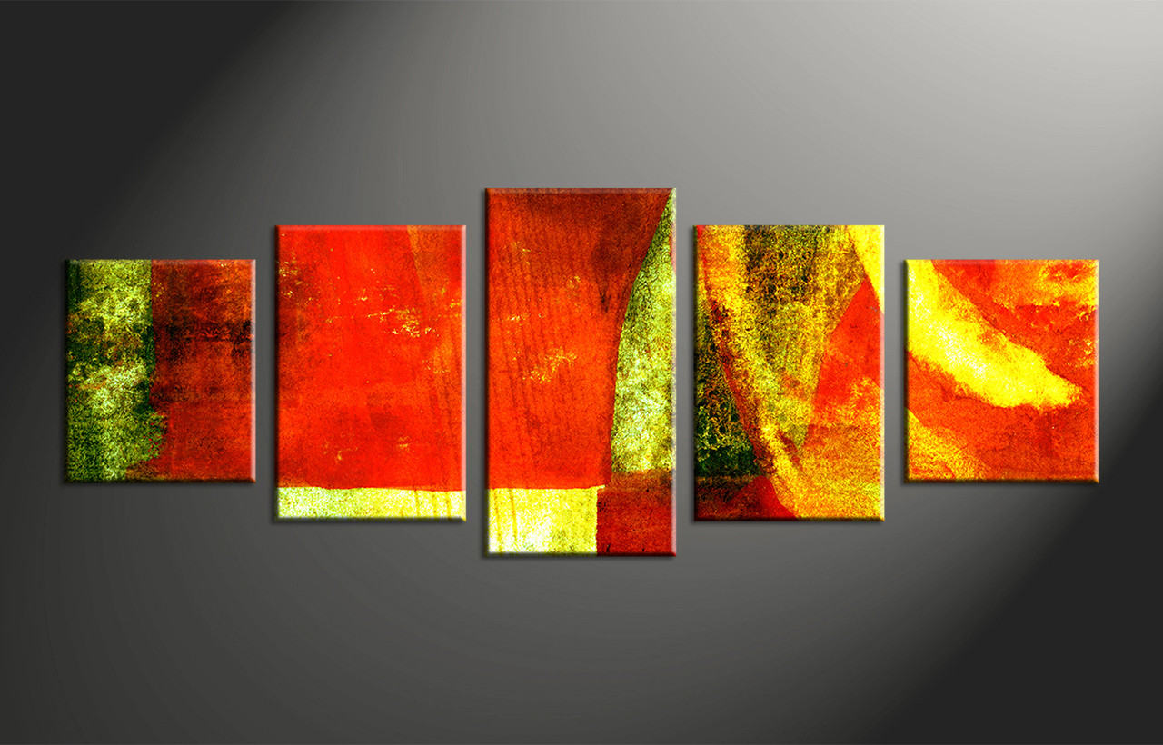 5 piece colorful canvas abstract home decor multi panel art Interiors by design canvas art