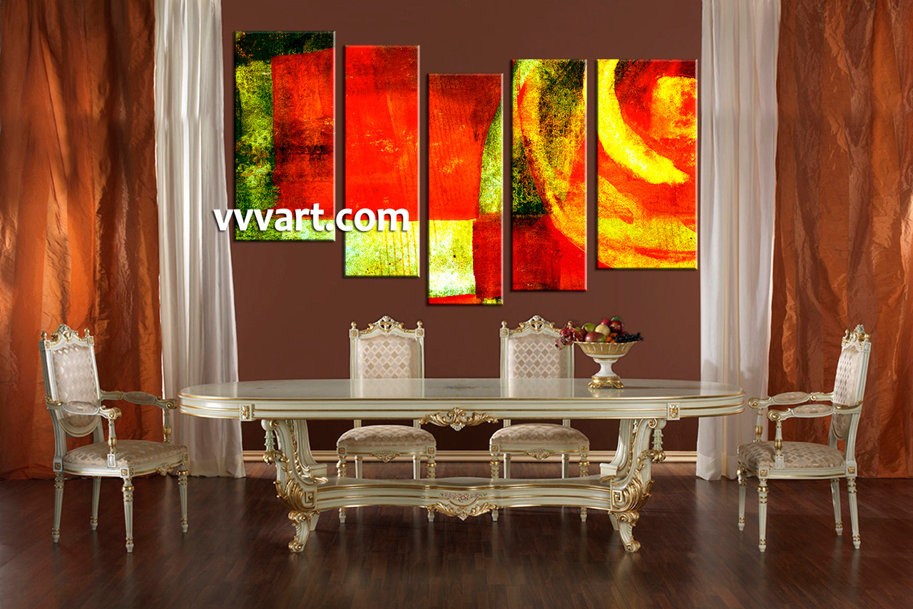 Dining Room Group Canvas 5 Piece Wall Art Oil Huge Pictures Abstract