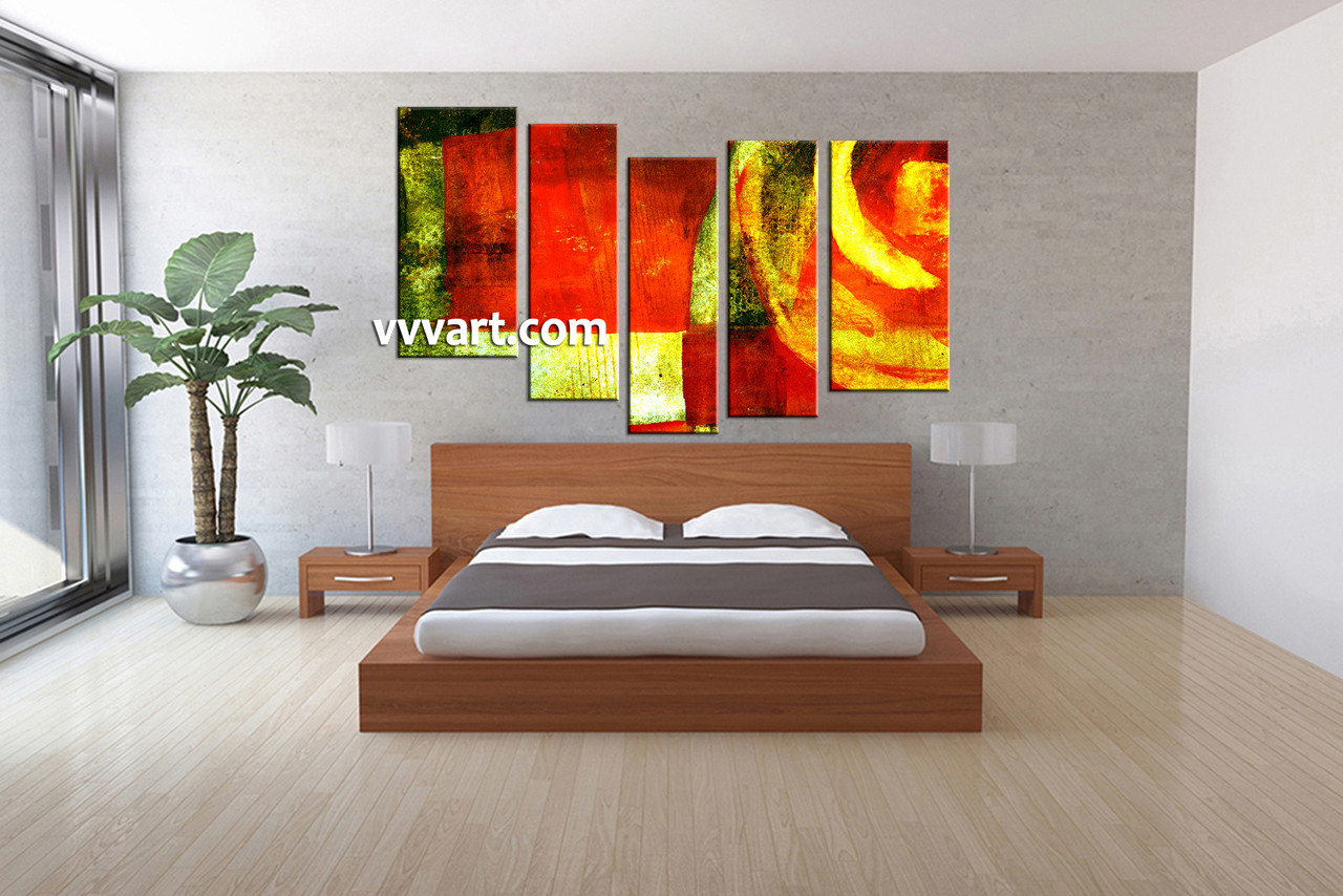5 piece colorful canvas abstract home decor wall art. Black Bedroom Furniture Sets. Home Design Ideas