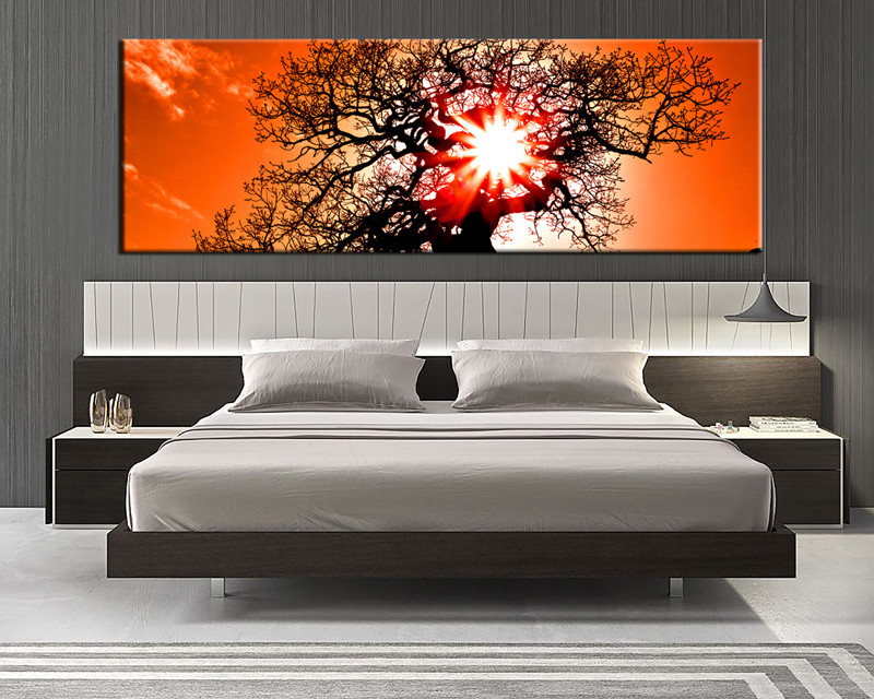 Great 1 Piece Canvas Wall Art, Bedroom Huge Pictures, Orange Scenery Art, Sunset  Scenery