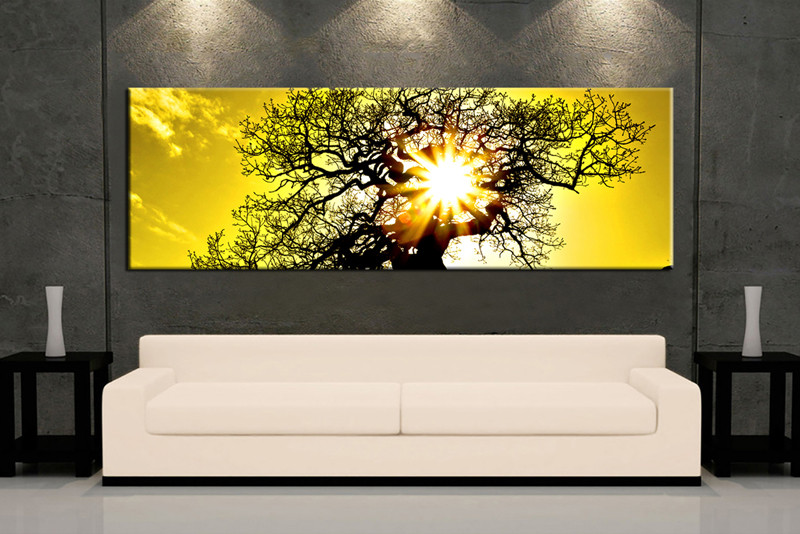 1 Piece Canvas Scenery Sunrise Yellow Wall Art