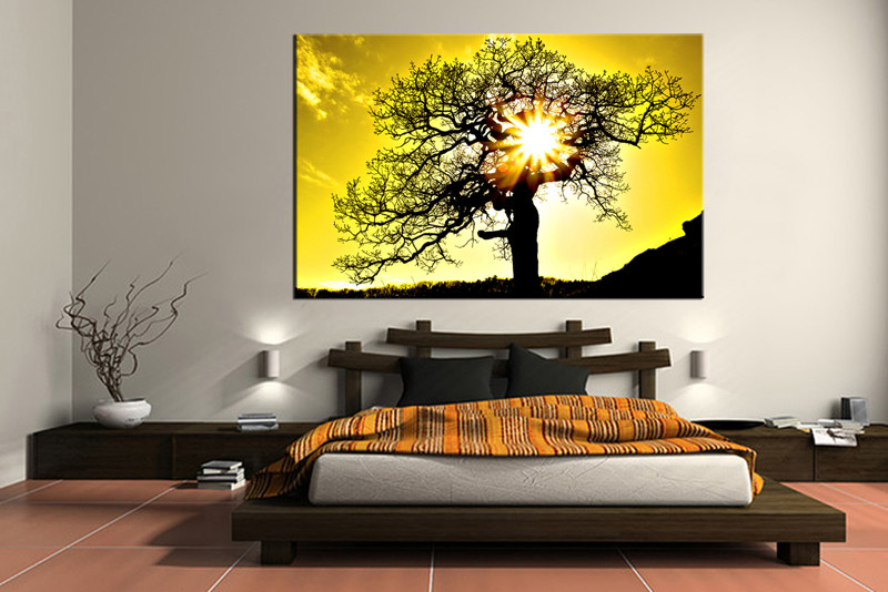1 Piece Canvas Photography Bedroom Huge Pictures Yellow Scenery Wall Decor Sunset