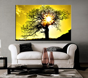 1 piece canvas art print, living room large pictures, yellow scenery wall decor, sunset scenery pictures