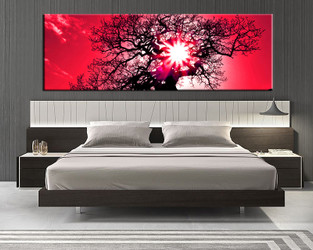1 piece canvas artwork, bedroom art, sunrise large canvas, sunset wall decor, red scenery wall decor