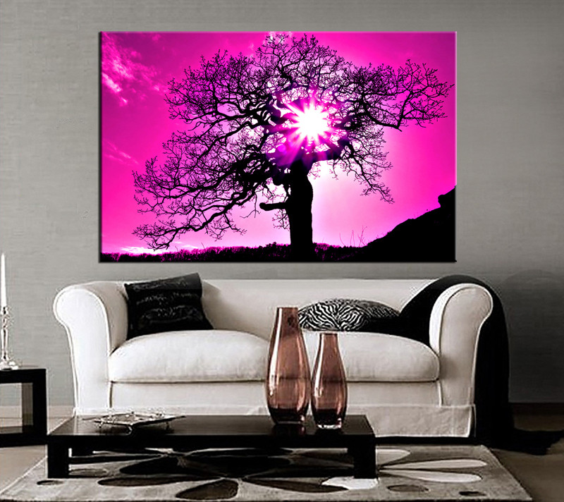1 Piece Canvas Purple Scenery Wall Decor