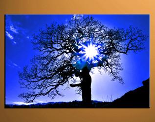 1 piece artwork, home decor artwork, sunrise photo canvas, sunset multi panel canvas, blue scenery decor