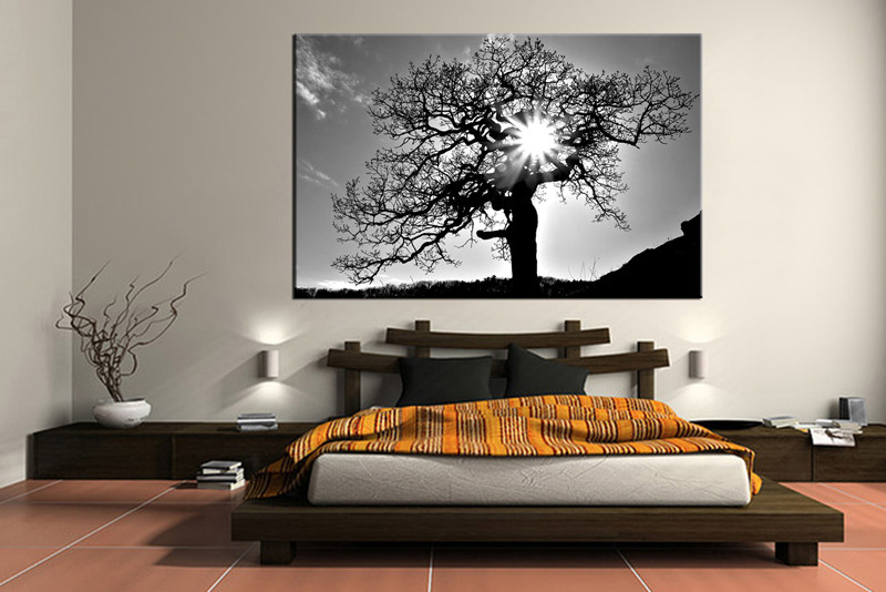 Black And White Canvas Wall Art 1 piece black and white scenery huge canvas art