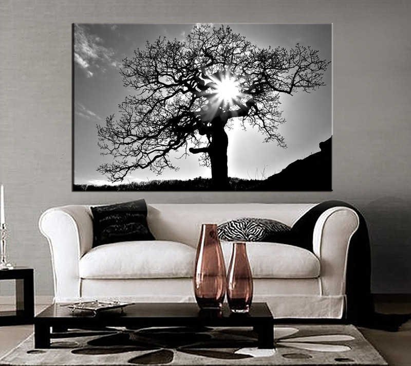 1 Piece Black And White Scenery Huge Canvas Artrhvvvart: Wall Art For Living Room Black And White At Home Improvement Advice