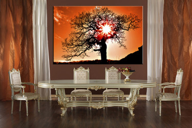 1 piece canvas photography, dining room huge pictures, orange scenery wall decor sunset scenery pictures