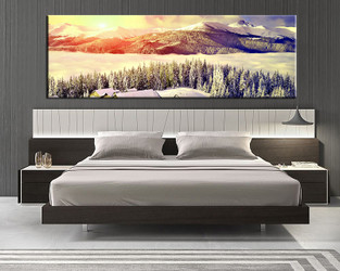 1 piece canvas wall art, landscape huge canvas print, bedroom artwork, yellow sunset sunrise canvas print, landscape art