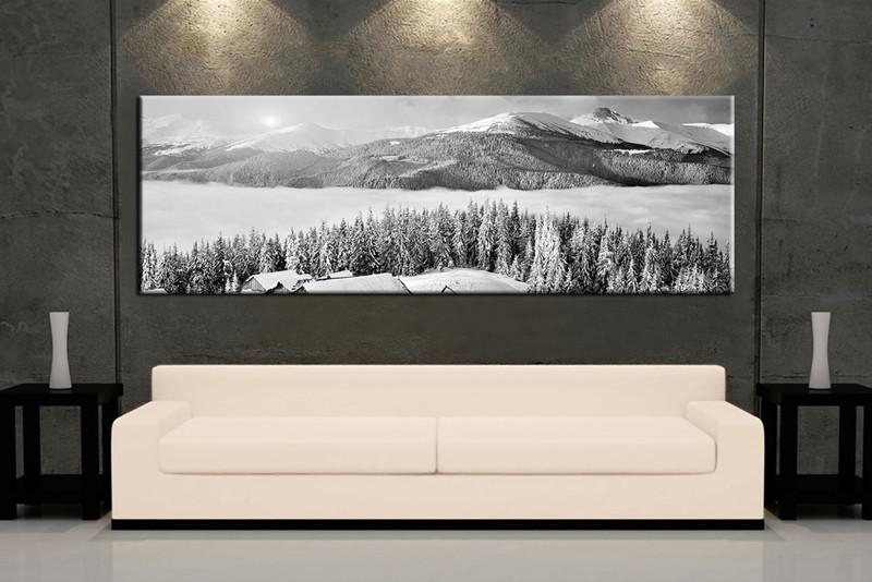 1 Piece Black and White Landscape Sunrise Snow Huge Canvas Art