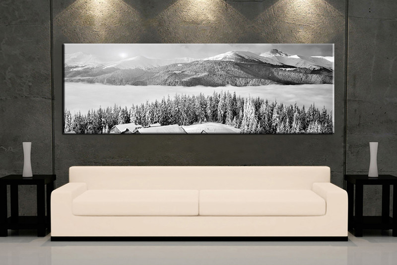 1 Piece Canvas Photography, Living Room Landscape Large Pictures, Black And  White Huge Canvas