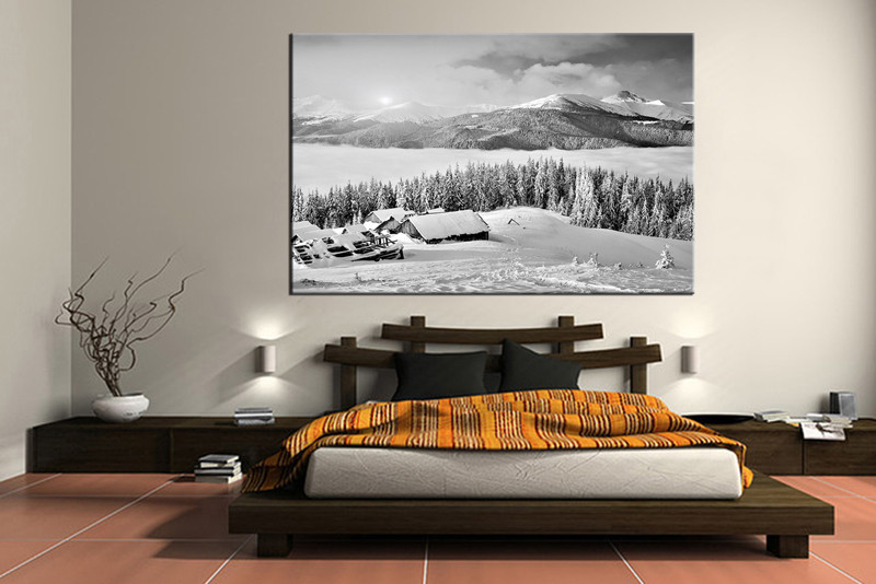 1 Piece Black and White Landscape Mountain Snow Canvas Photography