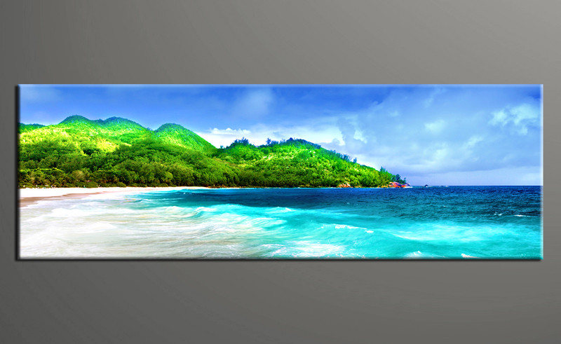 1 piece green mountain beach canvas print