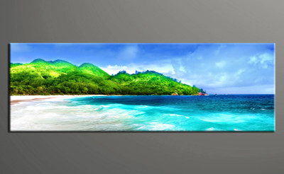 1 piece multi panel art, landscape home canvas print, green landscape wall art, green mountain decor, landscape wall art