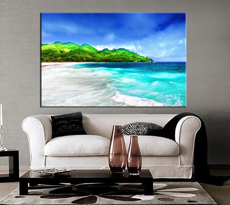 1 piece canvas wall art living art print black and white canvas print & 1 Piece Green Canvas Mountain Beach Artwork