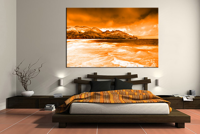1 Piece Photo Canvas, Bedroom Canvas Wall Art, Orange Ocean Canvas  Photography, Mountain