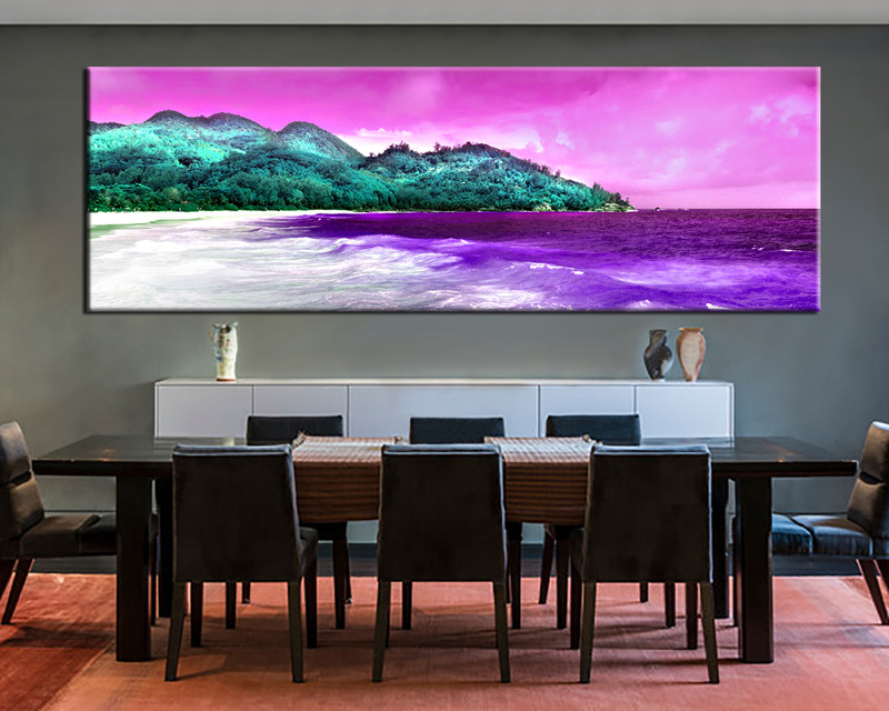 1 piece purple canvas beach mountain huge pictures for Purple dining room wall art