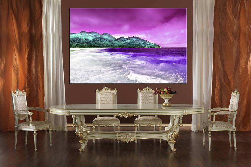 1 piece purple canvas beach mountain photo canvas for Canvas dining