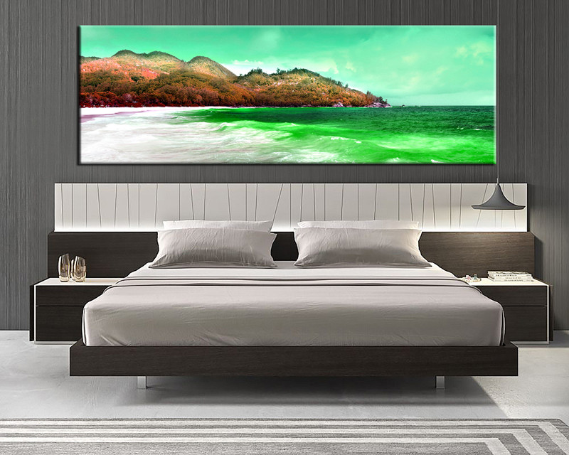 1 Piece Beach Mountain Green Canvas Photography
