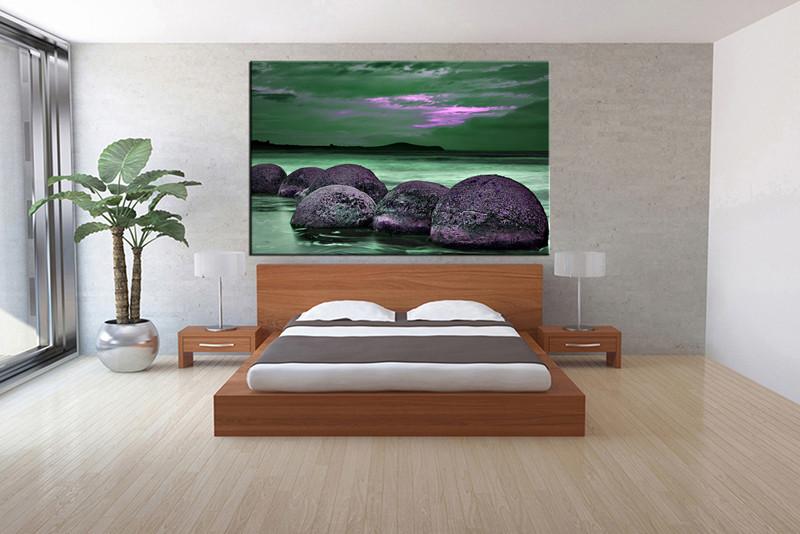 1 Piece Beach Mountain Green Huge Canvas Art