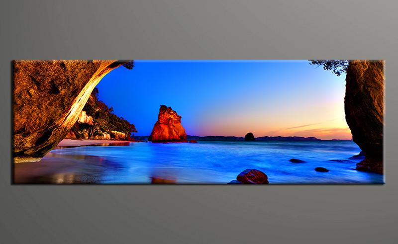 1 Piece Blue Ocean Mountain Huge Canvas Art
