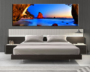 1 piece canvas art print, bedroom art, blue ocean multi panel art, landscape huge pictures, ocean artwork
