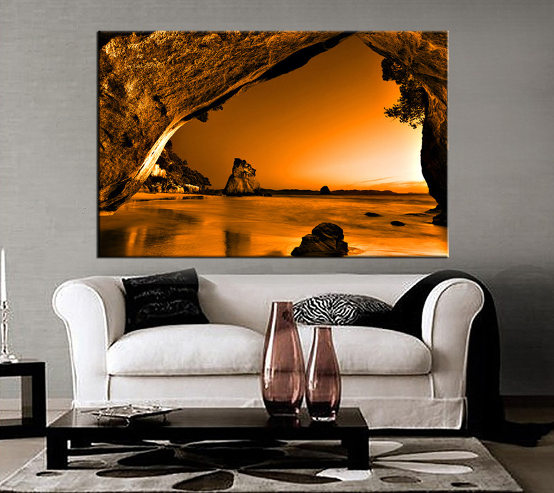 Living Room Art, 1 Piece Canvas Wall Art, Mountain Decor, Brown Ocean  Artwork