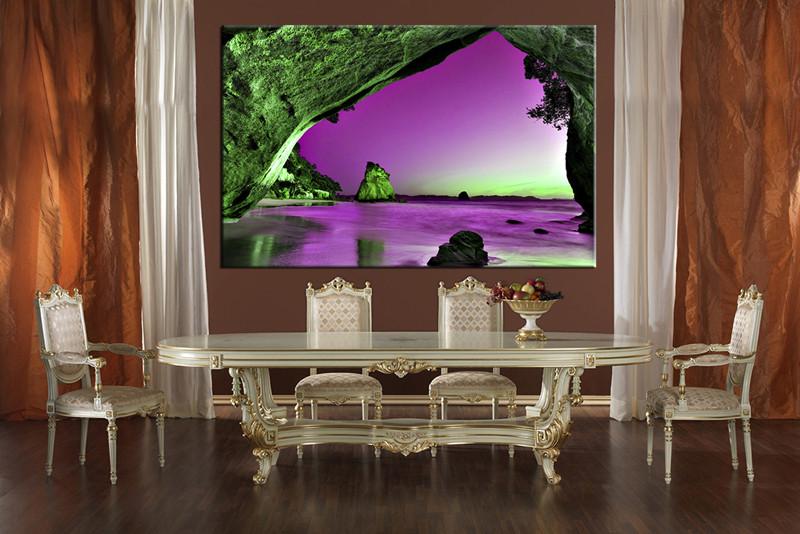 Dining Room Wall Decor 1 Piece Art Purple Ocean Multi Panel