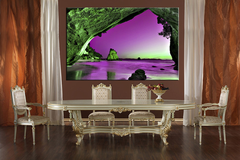 dining room wall decor 1 piece wall art purple ocean multi panel art & 1 Piece Green Mountain Canvas Photography Purple Ocean Artwork